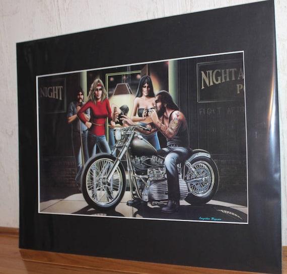 "David Mann ""Pool Hall Smoke"" 16'' x 20'' Matted Motorcycle Biker Art #8111ezrxmb"