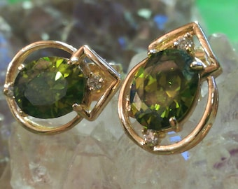 Vintage, red gold, gilded, gold plated, tourmalines, Tourmalines, Cubic zirconia, Zirconia, studs, studs