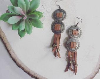 Double Concho Fringe Earrings