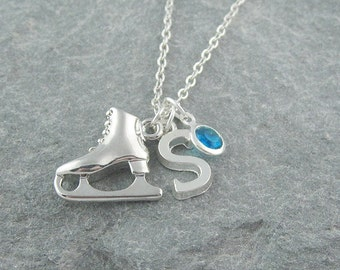 Ice skate necklace, initial necklace, swarovski birthstone, silver chain, birthstone jewelry, ice skating gift, personalized jewelry
