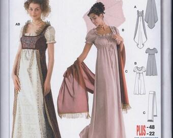 Burda 2493 Misses Women's Josephine Regency Jane Austen Dress Overdress Scarf UNCUT Sewing Pattern