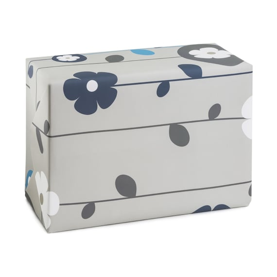 FLOWER POWER. Floral wrapping paper. Stone wrap. Minimalist style. Grey and blue. For her, for sister, girlfriend, mom