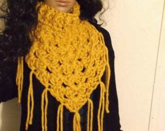 Thick and Chunky Crochet Kerchief Scarf, Cowl, Fringe Neckwarmer, Winter accessory, Triangle Cowl, Triangle Neck Warmer, in MUSTARD