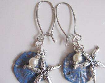 Silver Starfish Earrings Purple Blue Sand Dollar Soldier Blue, Silver Kidney Wires Bridesmaid Gift,  Beach Wedding Dangles