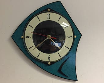 Lucite & Formica Wall Clock from Royale - Midcentury French Atomic style influenced by Turquoise 1950s Naugahyde