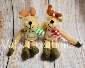 Personalized Reindeer, Christmas plush, Customize, Christmas Gift