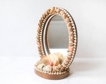 Sea Shell Mirror-Hand made shell mirror-Seashell Starfish Coastal Mirror-Sea Shell Framed Mirror