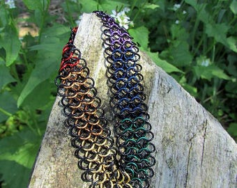 chainmaille bracelet,chainmaille jewelry,enameled copper,copper chainmaille,copper chainmail,gay pride,gay pride bracelet,copper bracelet