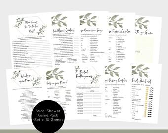 Modern Greenery Bridal shower Games, Printable Bridal shower Games Pack, Set of 10 Games, Instand Download, PDF, WLP740