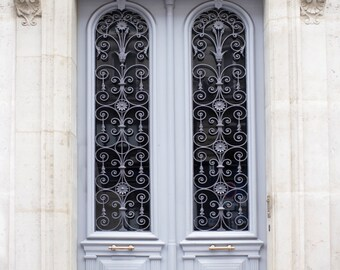 Paris Photography - Blue Grey Door, Architecture Photography, Travel Fine Art Photograph, French Home Decor, Large Wall Art