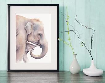 Elephant watercolor print, African wildlife, baby elephant watercolour, wall decor, nursery art print