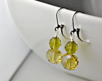 LEMON LIME EARRINGS, Green Earrings, Yellow Earrings, Summer Jewelry, Wedding Jewelry, 925 Silver Leverback Earrings, Affordable Jewelry