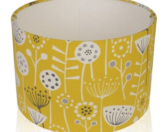 Fryetts Bergen Scandi flower Ochre Mustard  Cotton Print Lampshade,Ceiling Pendant,Table Lamp