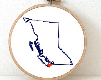 BRITISH COLUMBIA Map Cross Stitch Pattern. British Columbia ornament pattern with Victoria. Canada decor. Wedding gift