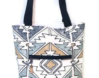 Tote Bag with zipper pockets  /  Tote Bag / Handmade Tote / Tote / Handbag / Shoulder Bag / Purse / Bag/ Navy Blue and White Tribal Print