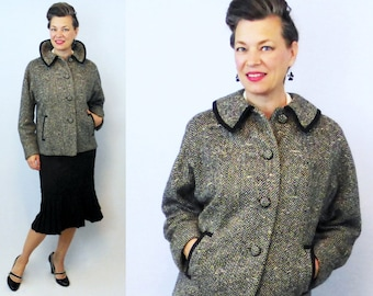 1960s Wool Coat / 60s Wool Coat / Short Wool Coat / Black and White Wool Coat / Tweed Coat / Boucle Coat / Wool Coat / Wool Jacket
