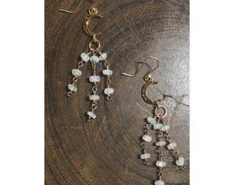Celestial Trail Moonstone Earrings