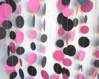 Hot Pink and Black Paper Circles Garland, Birthday Garland, Wedding Garland, Baby Shower Garland, Photo Prop