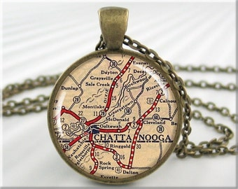 Chattanooga Map Pendant Resin Map Necklace Chattanooga Tennessee Picture Jewelry Round Bronze (715RB)