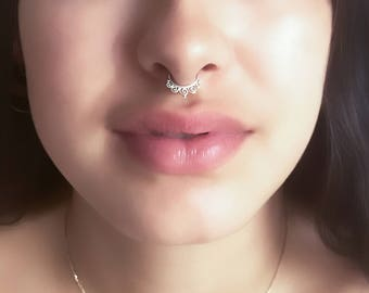 Indian Septum Ring - Septum Piercing - Silver Septum - 16G Septum Ring - Septum Jewelry - Tribal Septum Ring - Sterling Silver Septum (S23)