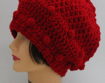 "Knitted ""Warm Red"" Beanie,  Slouchy Head Accessory,  Boho-chic"