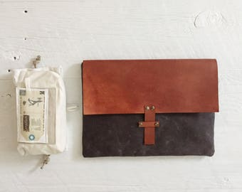 """Ordinateur portable MacBook 13"""" ciré étui en toile, cuir Tan en cuir pour ordinateur portable, unisexe"""
