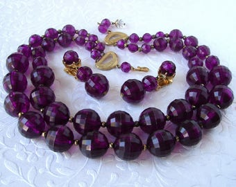 Parure Purple Beaded Necklace Vintage Multi 2 Strand Earrings Chunky Large Acrylic Crystal Amethyst Halloween Costume Jewelry Ultra Violet
