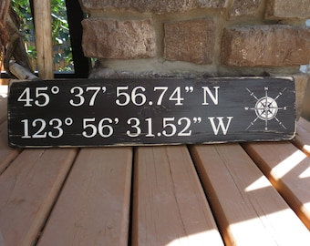 Distressed Wooden Coordinates Sign - Nautical, Beach, Rustic, GPS, Custom Wood Sign, Cottage Sign