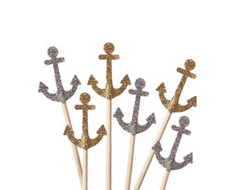 24 Glitter Anchor Cupcake Toppers, Nautical Party Decorations - No1125