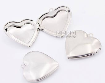 10 316L Stainless Steel Plain Lockets 40mm Heart Photo Frame Base Setting Wholesale Pendant Locket