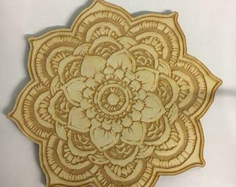 Mandala Coaster Set/Wood Coaster Set/ Sacred Coaster Set