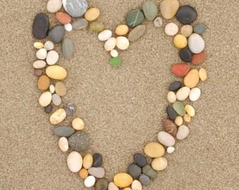 Carpinteria, California - Stone Heart on Sand - Lantern Press Photography (Art Print - Multiple Sizes Available)