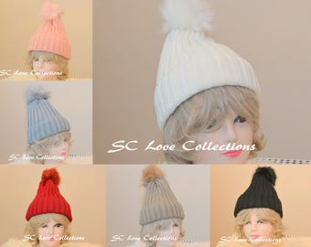 Woven Style Fashion Pompom Faux Fur Beanies Pink Red White Beige Gray Black Warm Cozy Women's Beanie Hats One Size Assorted Colors