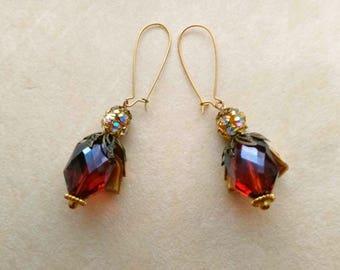 Large Bee Earrings . Baltic Garnet Faceted Crystal . Rhinestones . Statement Earrings . Golden Brass - Bee my Honey by enchantedbeas on Etsy