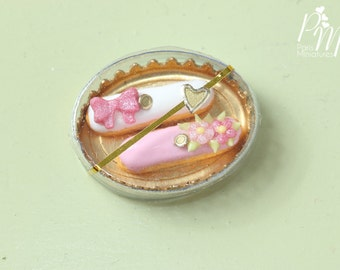 Pair of Beautiful Pink French Eclairs in Gift Box - 12th Scale Miniature Food (Pink Collection 2016)