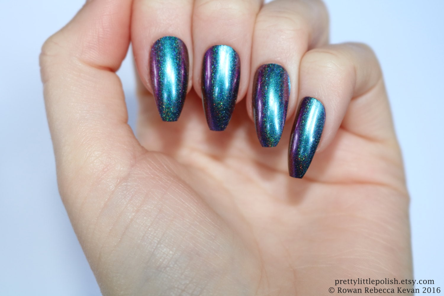 Chrome Nails Coffin Fake Nail
