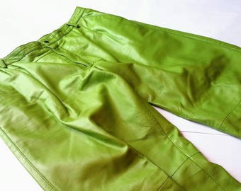 Vintage Lime Avocado Green Leather Pants - Manart 36 extra large xl bright kiwi acid high waisted tapered trousers pockets rave