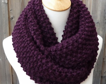 Eggplant Infinity Scarf - Dark Grape Wool Scarf - Lambswool Scarf - Bulky Knit Scarf - Circle Scarf - Ready to Ship