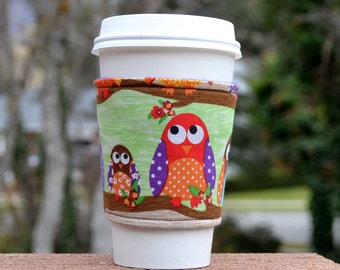 FREE SHIPPING UPGRADE with minimum -  Fabric coffee cozy / cup holder / coffee sleeve  -- Brightly colored owls