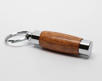 Wood Perfume / Aromatherapy Holder Key Chain - Honduran Mahogany with Chrome Accents (Gift Ready)
