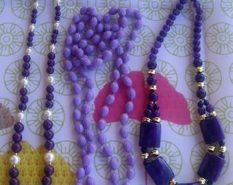 VINTAGE * purple necklaces