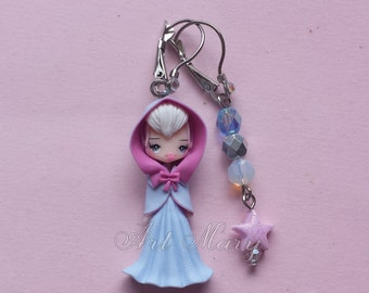 fairy godmother earrings in fimo, polymer clay