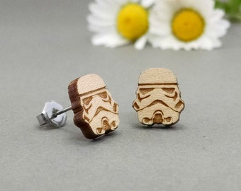 Star Wars Stormtrooper Earrings - Laser Engraved on Maple Wood - Hypoallergenic Titanium Post Earrings