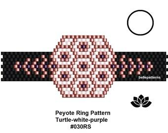 peyote ring pattern,pdf-download,DIY,#030RS,turtle white-purple,beading pattern,ring pattern,ring shape pattern,pdf pattern,