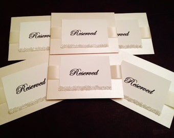 Cream Shimmer Reserved Table Card with Cream Ribbon & Czech Crystal Beading