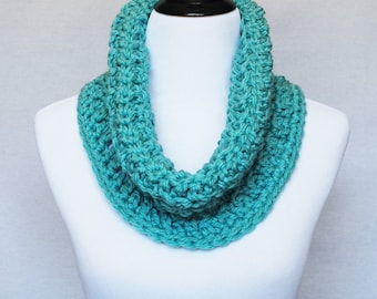 Aqua Crochet Cowl, Blue Green Neck Warmer, Short Infinity Scarf, Textured Cowl -  Aqua Blue, Aqua Green