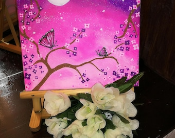 Pink Butterfly Acrylic canva painting