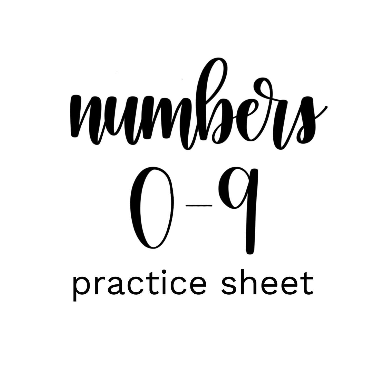 Brush Lettering Practice Sheet Numbers 0 9 DIGITAL