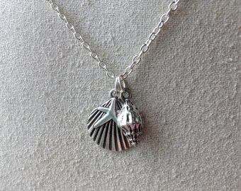 Shell Charm Necklace, silver shell jewelry, mermaid necklace, mermaid jewelry, beach necklace, beach jewelry, boho jewelry, boho necklace,