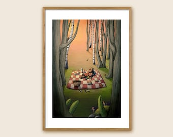 "Art Print - Children's Illustration - ""Forest Picnics"""